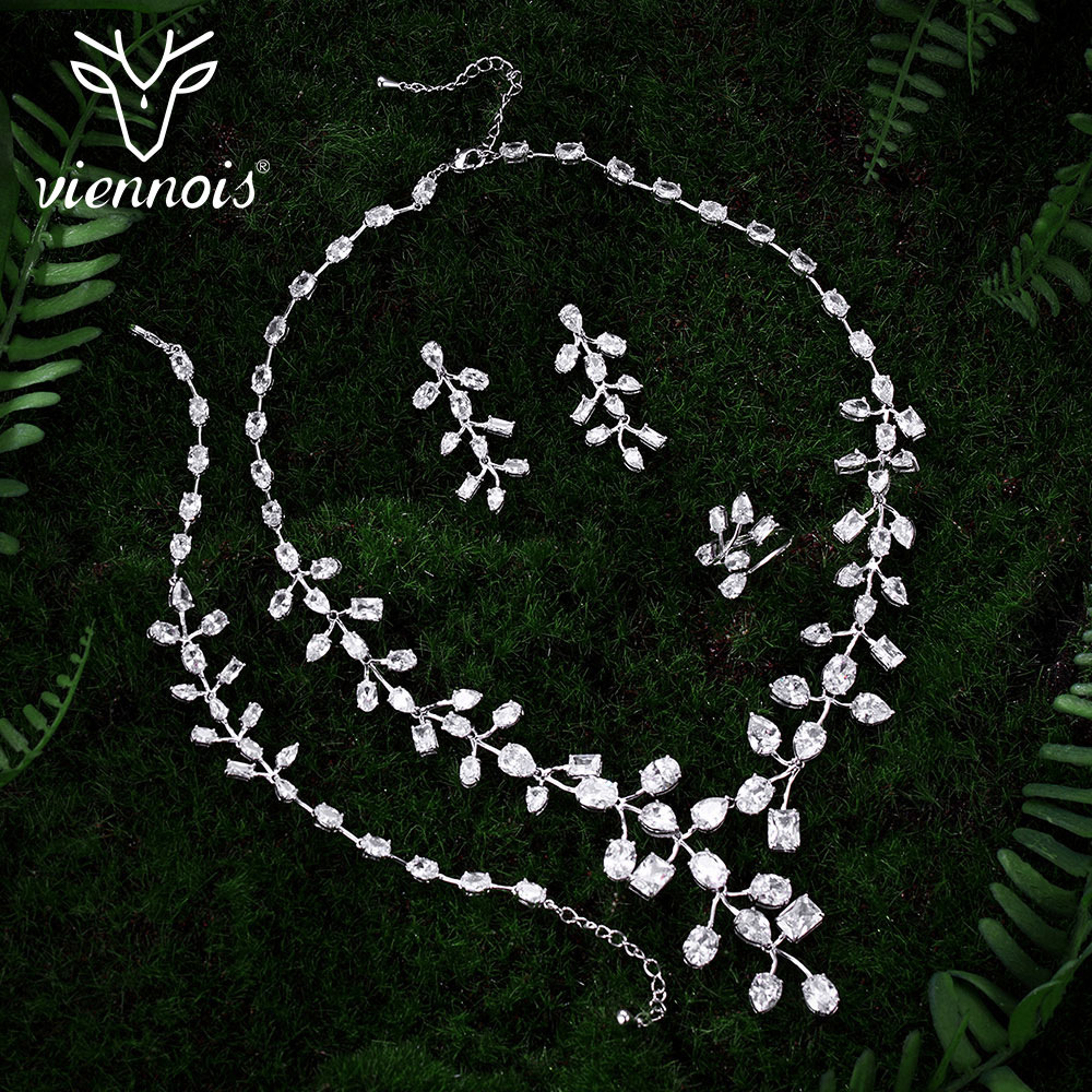 Viennois Silver Color Rhinestone Jewelry Sets for Woman Leaf Shape Necklaces Earrings Ring Bracelet Set Rhinestone Jewelry graceful solid color rhinestone crown shape ring for women