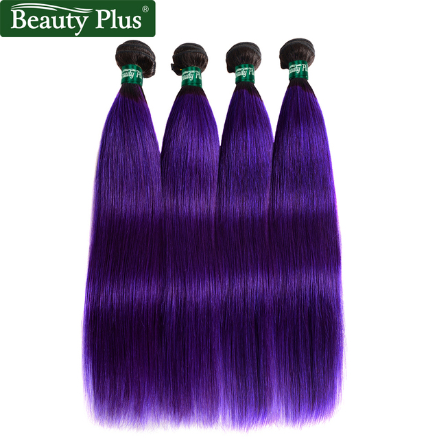 Beauty Plus Two Tones 1b Purple Brazilian Hair Weave 4 Bundles Ombre