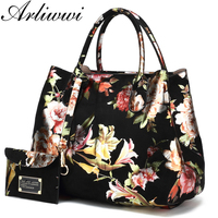 Arliwwi Brand High Quality Faux Leather Ladies Floral Handbags New Lily Blossom Shiny Women Elegant Tote Bags Large Capacity