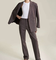 2019 fall and winter new double breasted oversized linen blazer coat+pant suit for women