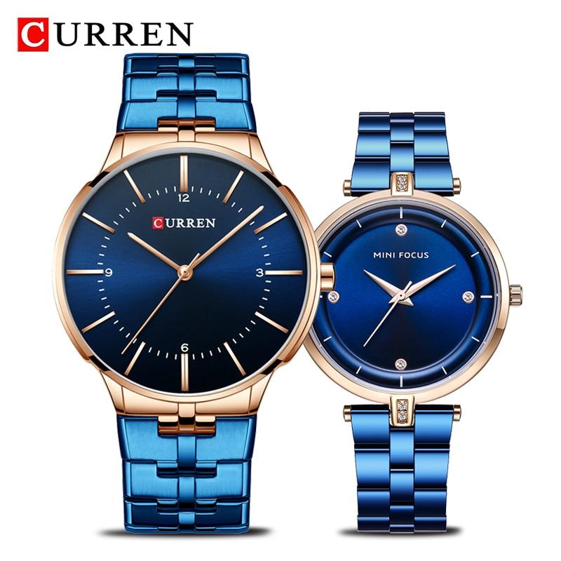 CURREN Brand Luxury Lover's Watches Fashion Quartz Women Men Watch Stainless Steel Couple Wristwatch Relojes Hombre Set for Sal