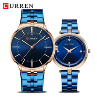 CURREN Brand Luxury Lover's Watches Fashion Quartz Women Men Watch Stainless Steel Couple Wristwatch Relojes Hombre Set for Sal