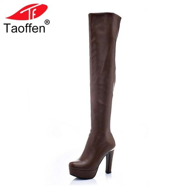 TAOFFEN Phụ Nữ Trên Đầu Gối Khởi Động Nền Tảng Lông Ấm Giày Giày Nữ Mùa Đông Cao Gót Giày Thời Trang Giày Phụ Nữ Giày Dép Kích Thước 34 -43
