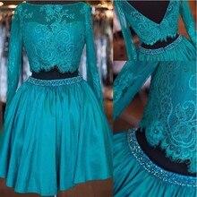 Einfache Zwei Stücke Homecoming Kleid Langarm Mini Cocktailkleider Nach Maß Appliqued Taft Party Kleider