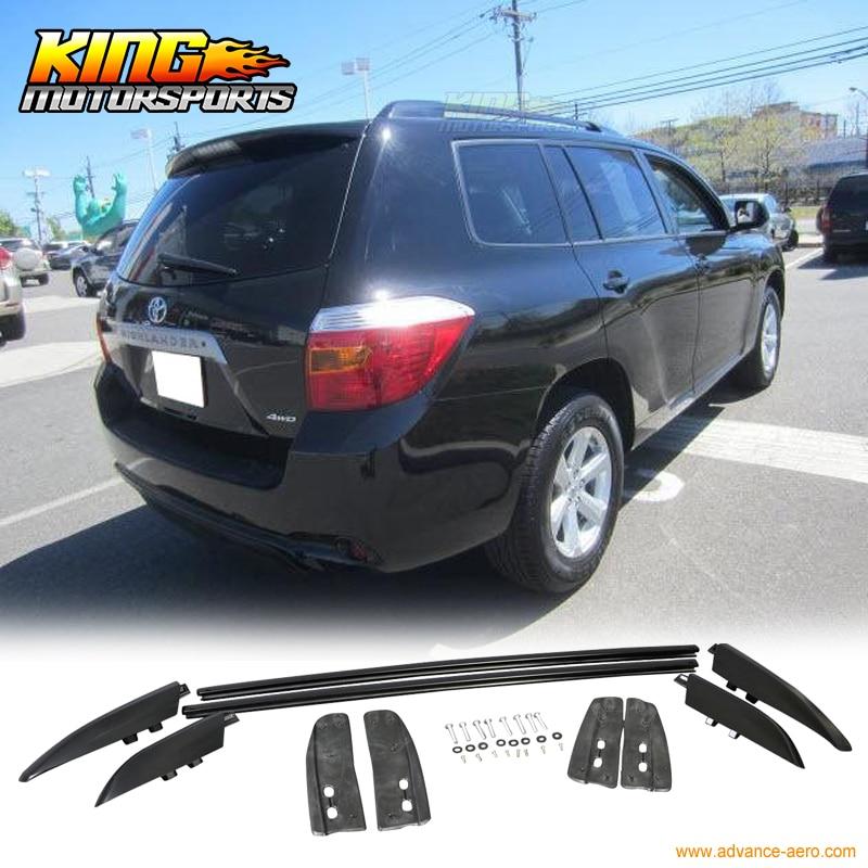 For 08-13 Toyota Highlander Aluminum OE Style Roof Rack Side Rail Black