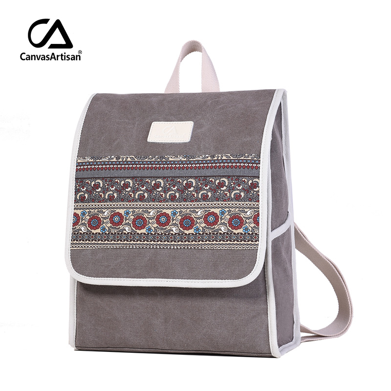Women's Canvas Backpack Retro Style Floral School Bookbag Laptop Backpacks Bags College Daypack