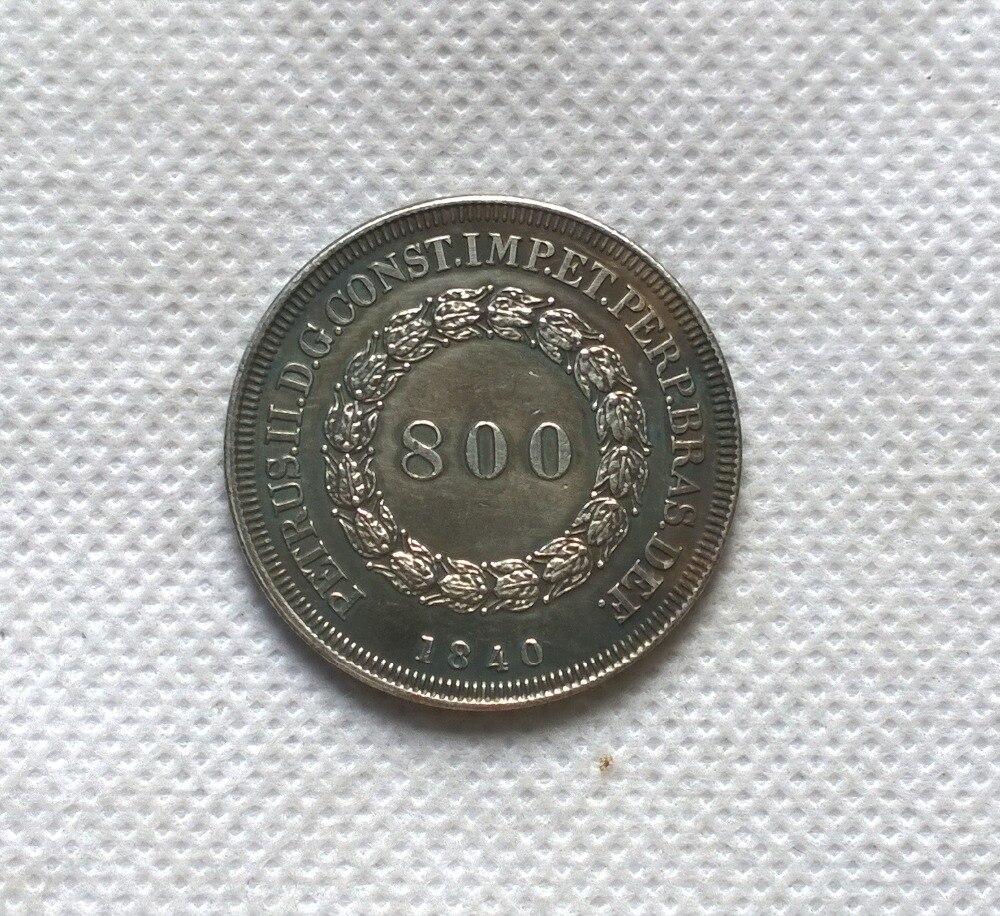 1840 Бразилия 800 Reis МОНЕТА КОПИЯ БЕСПЛАТНАЯ ДОСТАВКА