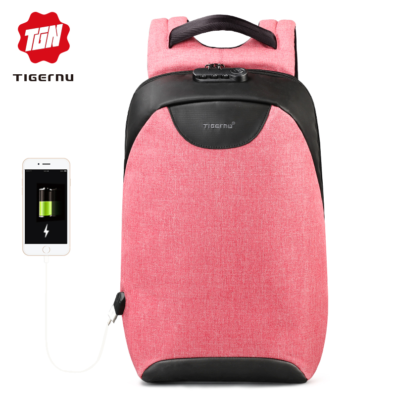 2018 Tigernu Fashion Women Backpack Anti theft Laptop Backpack USB Charging School Bags for Teenager Feminine Backpacks Bagpack