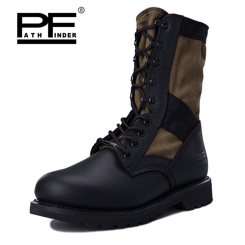 Pathfinder Men Boots Winter Military Combat Boots Outdoor Shoes Platform High Top Non-slip Lace-up Hiking Shoes Ankle Boots big size 46 men s winter sneakers plush ankle boots outdoor high top cotton boots hiking shoes men non slip work mountain shoes