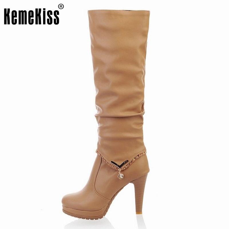 ФОТО Free shipping knee boots women fashion snow winter footwear high heel shoes sexy warm half boot P6704 EUR size 34-40