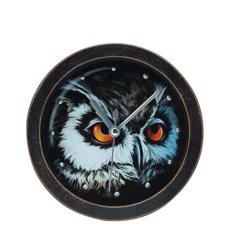 Animal Alarm Clock Creative Owl 3D Wooden Table Stand Clock Needle Mute Alarm Clock Home Office Decor Round Students Clock