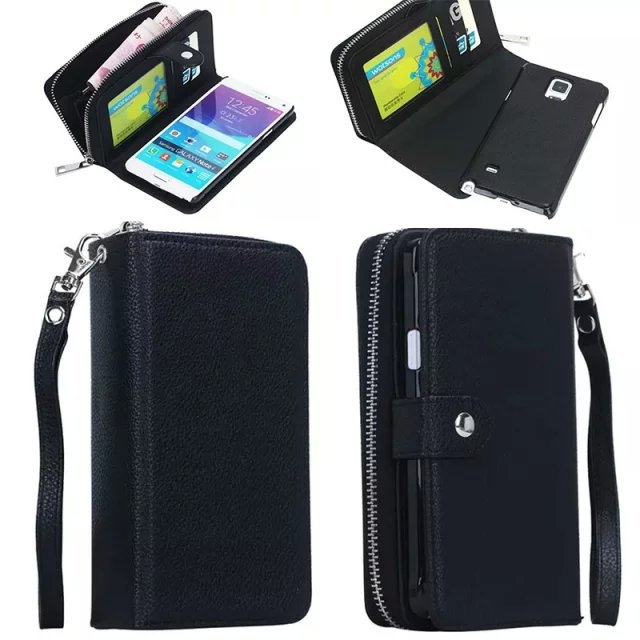 check out 549f3 8c345 US $10.92 5% OFF|Detachable Cover PU Leather Note 5 Wallet Case For Galaxy  Note 4 Purse Bag Strap Card Slot Zipper Pouch For Samsung Galaxy S4 S5-in  ...