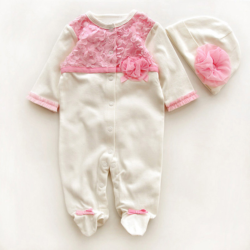 Newborn-Cute-Floral-Cotton-Baby-Girl-Rompers-Infant-Lace-Bow-Knot-RomperHat-Children-Clothes-Sets-Long-Sleeve-Toddler-Jumpsuit-1