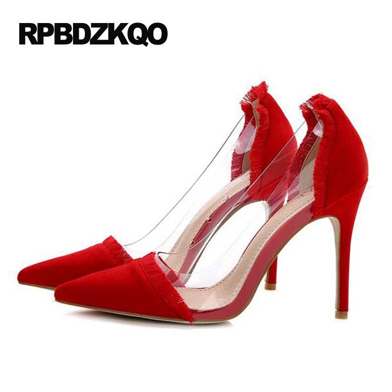 c7496453f Bombas Estilete Extremo Tamanho 4 34 Sapatos De Casamento Claros Ultra Pvc  Camurça Super Salto Alto Nupcial Transparente em Bombas das mulheres de  Sapatos ...