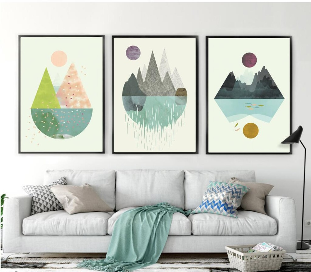 Modern Living Room Canvas Art Wall Decor For Geometric Abstract Shape Sun Mountain Print ...