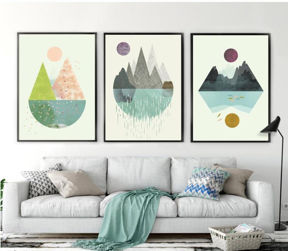 Modern Geometric Abstract Shape Sun Mountain Canvas Print