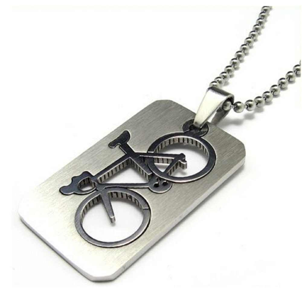 1 PC New Design Men's Stainless Steel Quadrate Bicycle Pendant Silver Color Necklace Fashion Jewelry collier homme