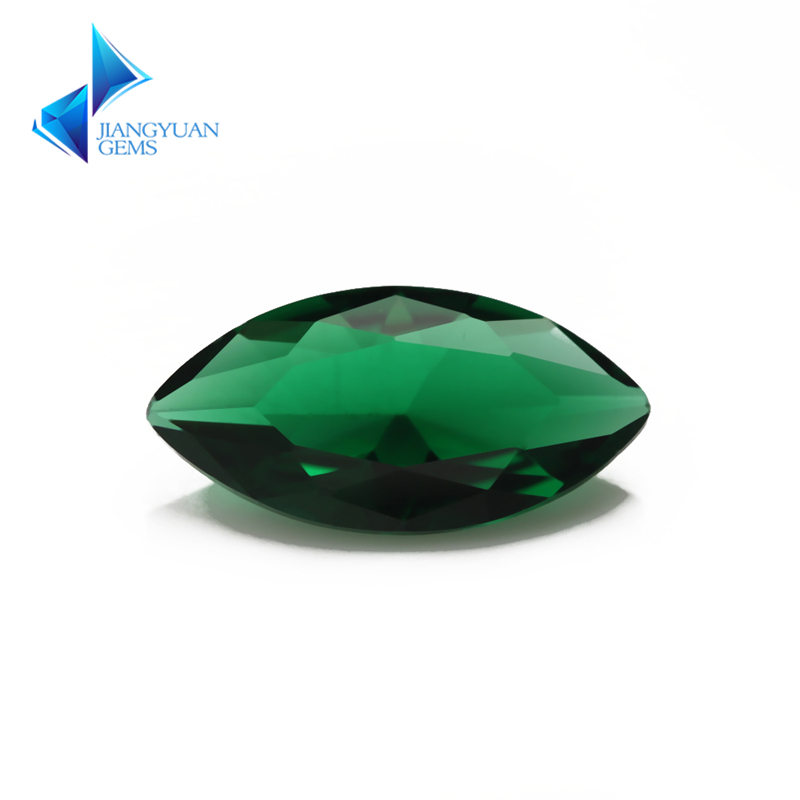 Size 1.5x3~8x16mm Green Color Marquise Shape Machine Cut Loose Glass Gems stone Beads Synthetic Gems
