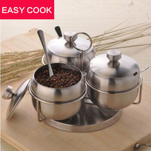 Küche liefert gewürzglas edelstahl gewürzkasten sauce pot würze flaschen würze box drei stücke gesetzt