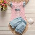 BibiCola verano muchachas del niño del bebé ropa de verano de las muchachas fijó moda tops Cortos arco 2 unids kid correa dots traje de deporte conjunto