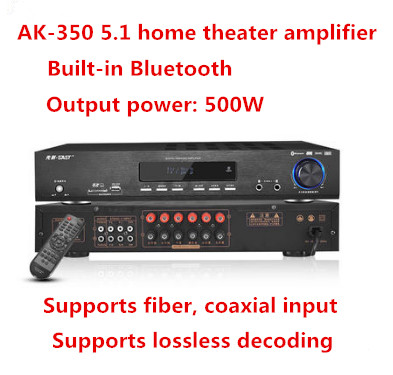 AK-350 500W 5.1 home theater Bluetooth 4.0 karaoke OK audio amplifier Support USB / SD fiber coaxial input APE lossles decoding curry