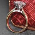 3 Карат кт F Цвет Обручальное Lab Grown Муассанит Алмаз кольцо С Настоящий Бриллиант Акценты Solid 14 К 585 Желтый Белый золото