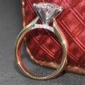 3 Carat ct F Color Laboratorio Crecido Moissanite Diamante de Compromiso anillo Real Con Acentos de Diamante Sólido 14 K 585 Amarillo Blanco oro