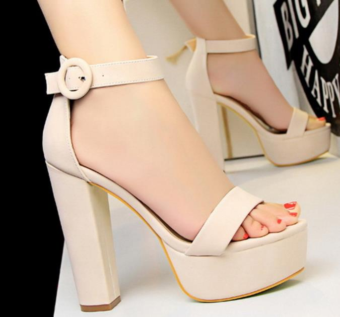 hot sale woman's thick heel super high heels sandal sexy nightclub women shoes waterproof platform peep toe belt buckle slides