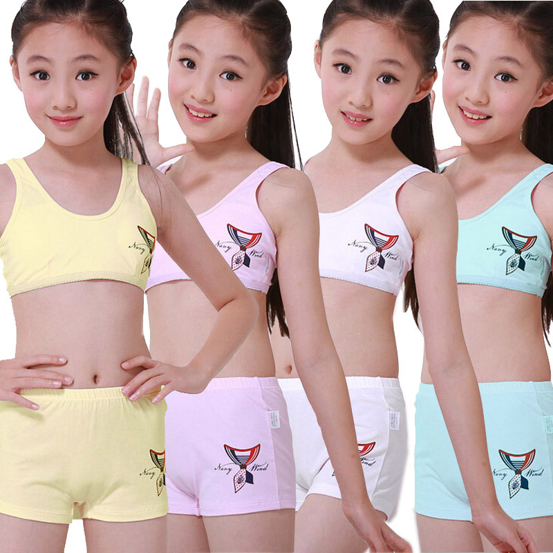 4sets/lot Puberty Young girl student Teenagers cotton underwear set with Training Bras camisole vest & panties boxer(8-15Y) girl