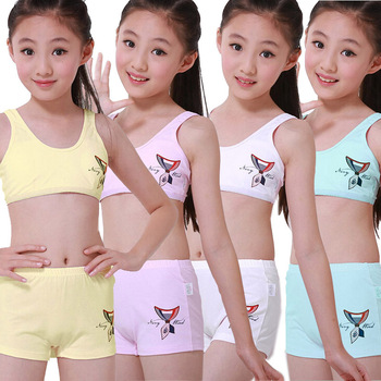 8e51e1da34a 4sets lot Puberty Young girl student Teenagers cotton underwear set with  Training Bras camisole vest   panties boxer(8-15Y)