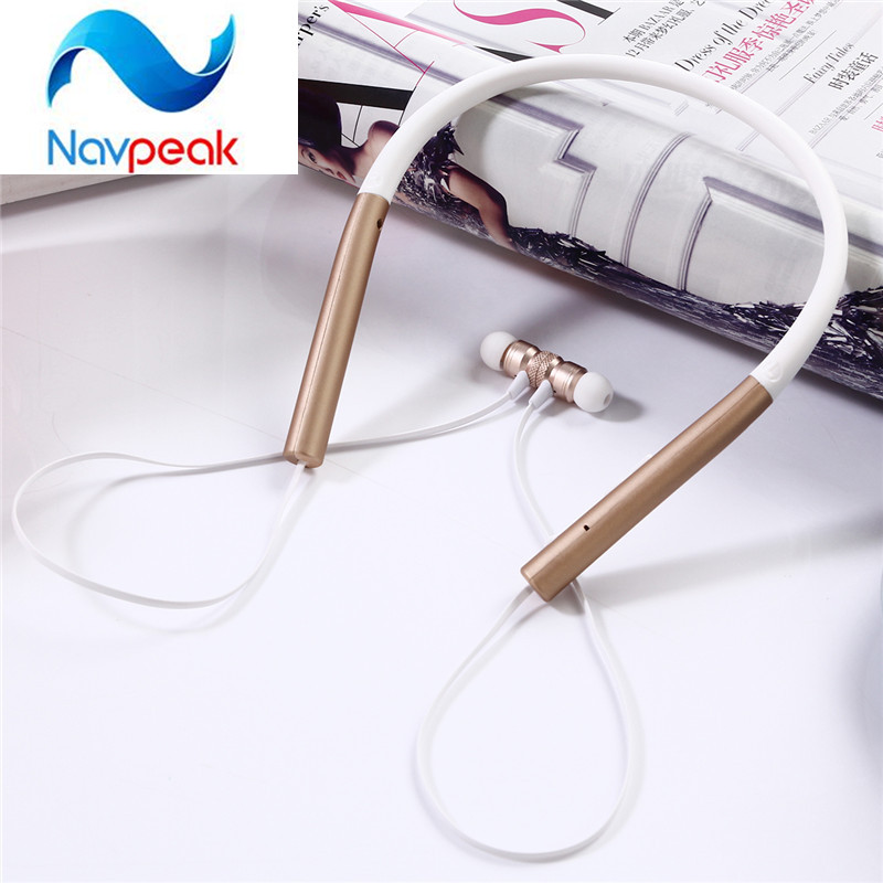 1pc Navpeak Outdoor Sports Neckband aluminum magnetic Headphone Portable Fashion Strong Bass Bluetooth Wireless Headset