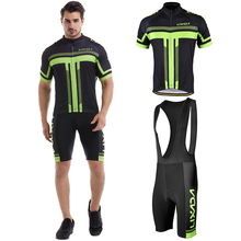 Mens Short Sleeve Cycling Jersey Padded Bib Set Cloth Bicycle Clothing GEL Breathable Pad Sets