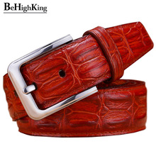 Fashion genuine leather belts for men Wide luxury designer crocodile pin buckle man belt High quality cow skin strap for jeans