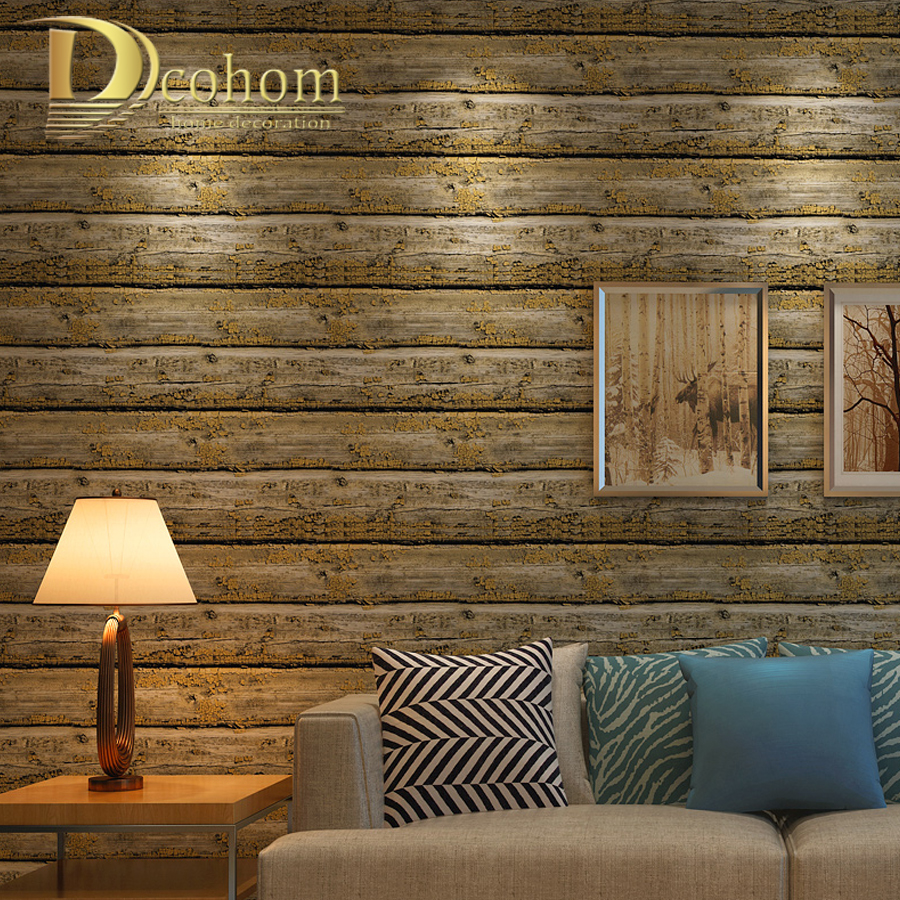 American vintage striped wooden wallpaper for walls for Wood wallpaper bedroom