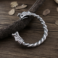 1pc Handmade Top Quality Fenrir Pengan Wolves Norse Viking Wolf Raven Dragon Bangles Bracelets