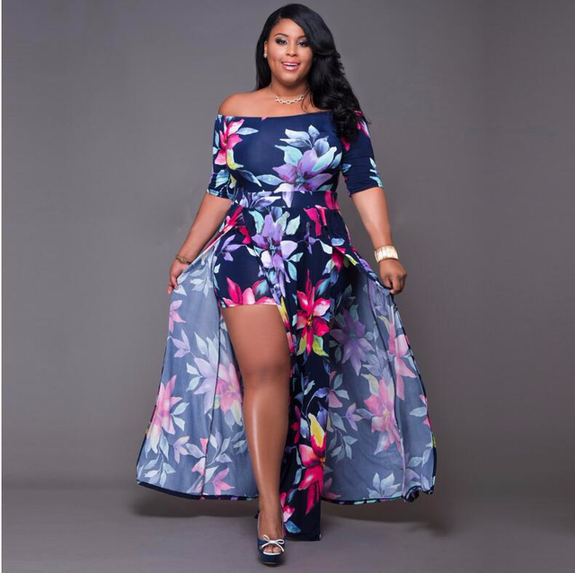 2019 Summer Fashion New Wrapped Chest Sexy Dress Europe and The United States Large Size Women M-5XL Printing Piece Split Dress 3