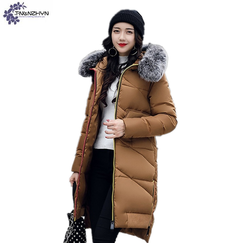 TNLNZHYN 2017 winter new Women clothing Cotton coat loose Big yards Thicken warm  hooded fur collar Long female Cotton coat QQ96 women winter coat leisure big yards hooded fur collar jacket thick warm cotton parkas new style female students overcoat ok238
