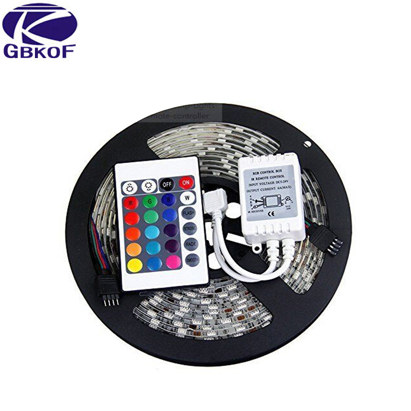 Free Shipping led wholesaler 3528 2835 RGB led strip light 5M 300SMD led stripe 24key SMD IR Remote Controller, Or White Blue Red