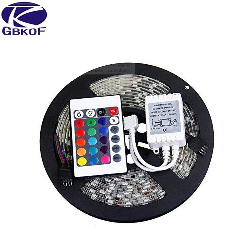 Free Shipping led wholesaler 3528 2835 RGB led strip light 5M 300SMD led stripe 24key SMD IR Remote Controller, Or White Blue Red