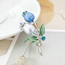 Romantická brošňa MODRÝ TULIPÁN Flower Brooch BLUE TULIP