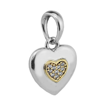 Beads for Jewelry Making DIY Sterling Silver JEWELRY Two Tone Signature Heart Pendant Bead Clear CZ Charms Kralen PERLES