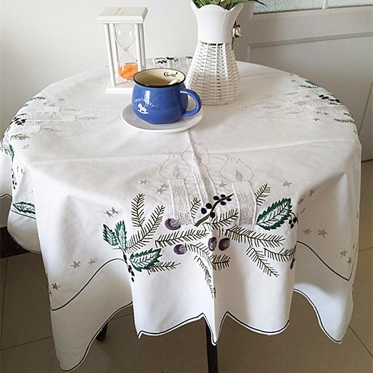 mesa rectangular de tela manteles de lujo blanco manto bordado de navidad cubierta de mantel de