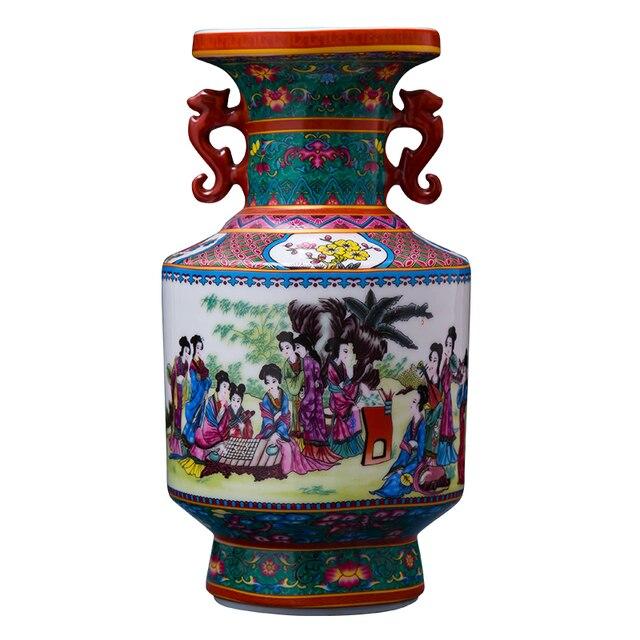 Antique Enamel Ceramic Flower Vase Double Ears Decorative Ancient
