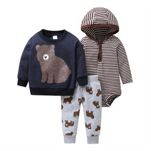 Pasgeboren Baby Cartoon Beer Kleding Set Lange Mouw Trui + Streep Romper + Broek 2020 Herfst Outfit Pasgeboren Jongen kleding Winter