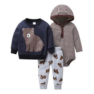 Image 1 - new born baby cartoon bear clothes set long sleeve Sweater+stripe romper+pants 2020 autumn outfit newborn boy clothing winter