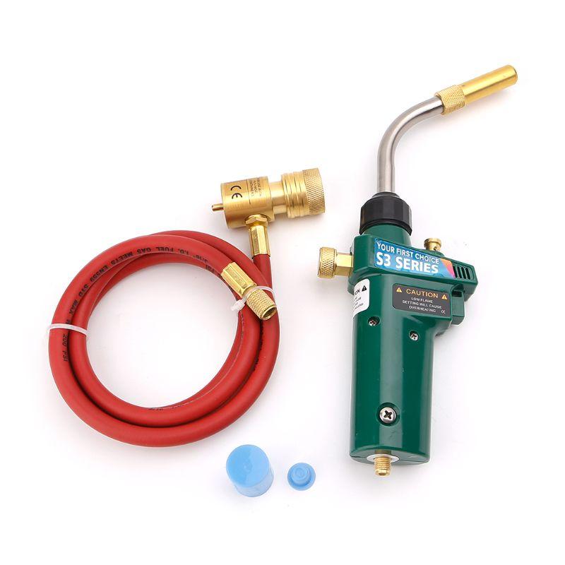 Mapp Gas Brazing Torch Self Ignition Trigger Propane Welding CGA600 Burner Heating Tool