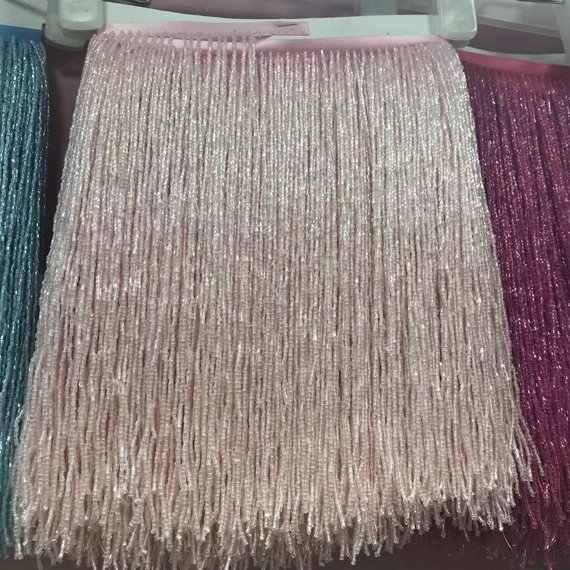 pink Beaded fringe tassel lace crystal beads strings latin dress dance wear  macrame trimming spike Clothing 6250bef32512