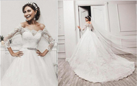 Ball Gown vestidos de novia Three Quarter Sleeve Appliques Romantic White Bride Dress Luxury Lace Wedding Dresses