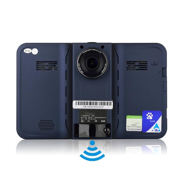 7 pulgadas GPS Android Navegación GPS DVR Videocámara Anti Detector de Radar 8 GB Wifi Pantalla Táctil Capacitiva FM Transmisor GPS
