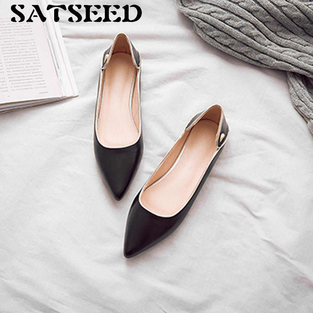 Spring Women Pumps 2018 New Low Heels Genuine Leather Shoes Women Pointed Toe Dress Women Pumps Black Fashion Rubber Sole Shoes whensinger 2017 new women fashion boots genuine leather fashion shoes rubber sole hands sewing 2 color 7126